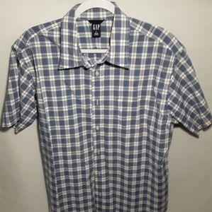 Men's Gap S/S Button down plaid shirt sz LG